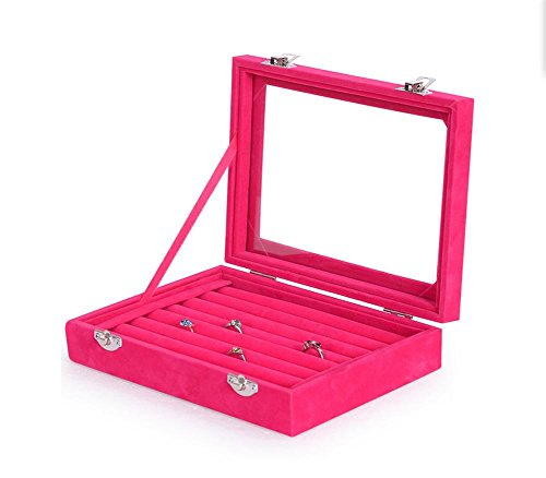 SHISHANG Klar Deckel 8 Slots Schmuck Ringe Ohrringe Tray Showcase Display Lagerung , red 8-slot-display-trays