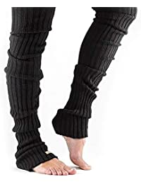 QETU Muslo De Invierno High Tie Cable Knit Crochet Footless Long Dance Leg Warmer, Calcetines