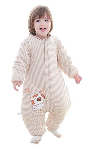 Chilsuessy Babyschlafsack 3.5 Tog Winter Kinder Schlafsaecke mit abnehmbar Langarm und Beinen,aus gesund Bio Baumwolle,Katze Muster, 1#, XL/Koerpergroesse 100-110cm -