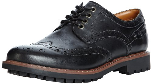 Clarks Montacute Wing 203510927, Scarpe stringate basse uomo, Nero (Schwarz (Black Leather)), 40