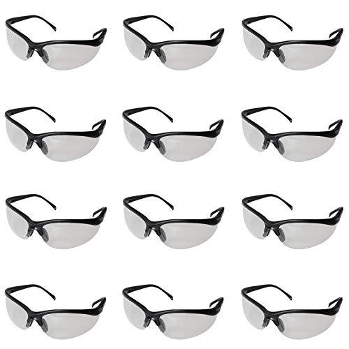 Schutzbrille - 12 Stück Schwarze Schutzbrillen Zum Schutz der Augen mit Klaren Linsen, Gumminase und Ohrhaken für Festen Sitz an den Ohren, Schutzbrille Baustelle, Chemie Labor und Chemikalien