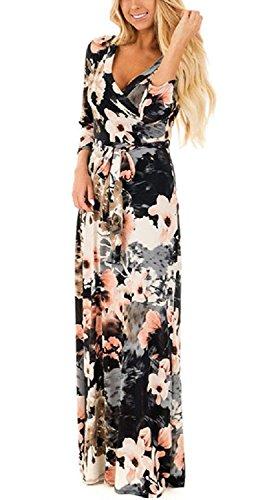 ab3b48ce18071 Landove Vestito Lungo Elegante Donna Cerimonia Abito Maniche 3 4 Vestiti  Stampa Floreale Scollo a V Casual Mode Bohemian Abiti da Spiaggia Sera  Cocktail ...