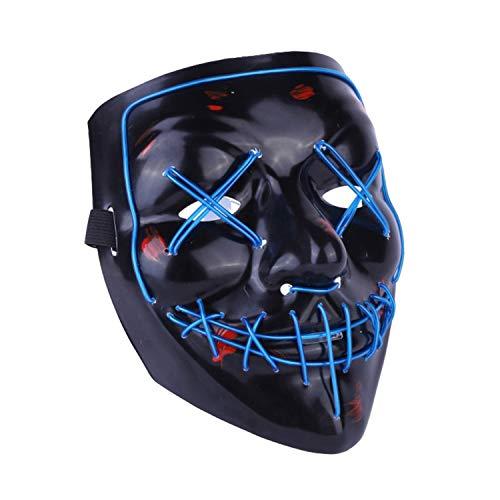 LAEMILIA Maske LED Light EL Wire Erwachsenen Cosplay Purge Mask Festival Fashing Karneval Party Haslloween Kostüm Verkleiden Zubehör (21 * 17.5cm, Blau)