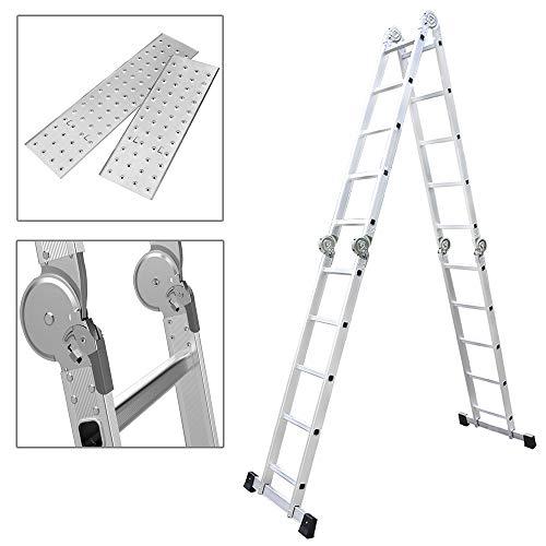 MCTECH® 6 in 1 Anlegeleiter 550m Mehrzweckleiter Aluminium Verstellbar Klappleiter Gelenkleiter Leiter Stehleiter Leitergerüst Arbeitsbühne (4X5 Stufen mit plattform)