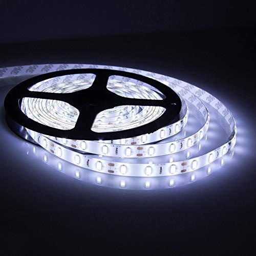 Prevently 5M LED Streifen LED Stripes Band lichtband 12V Lichtstreifen 300 3528 LED für Decke, Deko, Küche, Innenraum usw. (Weiß)