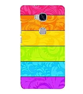 Printvisa Multicoloured Horizontal Lines Pattern 3D Hard Polycarbonate Designer Back Case Cover For Huawei Honor 5X :: Huawei Honor X5:: Huawei Gr5