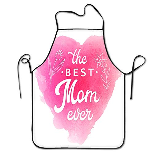 Funny Personality Apron best mom ever card flowers lettering greeting hand text abstract pink watercolor heart shaped soft background Lovely Chef Kitchen Aprons 20.4 * 28.3 inch Heart Shaped Server