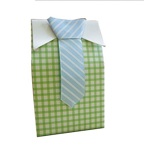 joyliveCY 20 Stück My Little Man Blau Grün Fliege Babyparty Bevorzugungs Süßigkeit Beutel Hochzeit bevorzugt Süßigkeit Kasten Geschenk Beutel - Süßigkeiten Baby-dusche-bevorzugung
