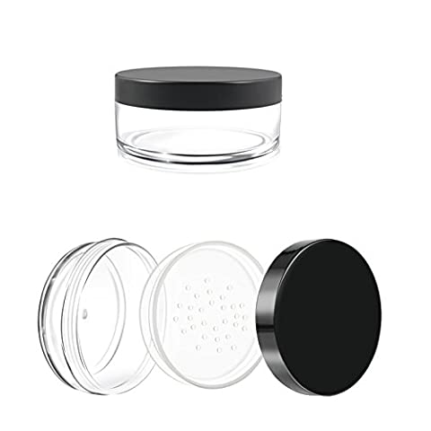 Homgaty 50g Empty Plastic Sifter Jar with Screw Lids for Cosmetics Powder Makeup Cream Glitter