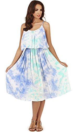 Mesdames, pistache, Tie Dye pli rayé Overlay robe courte Bleu Des nuages