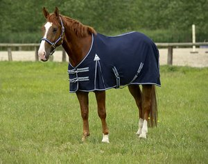 EQUI-THEME-COTTON-SUMMER-SHEET-NAVY-BOUND-LIGHT-BLUE-HORSE-PONY-TURNOUT-SHOWS