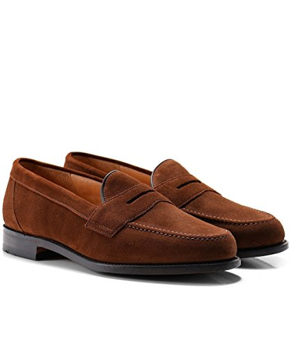 Loake Eton Mens Suede Formal Loafers 10 Brown Suede