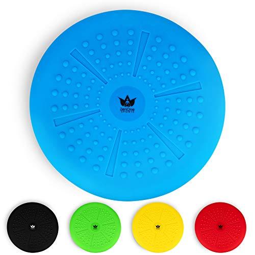 ZenBalance Plus Balance Ball Luftkissen inkl. Pumpe I Kissen Rücken mit GRATIS E-Book & Workout-Guide I Aufblasbares Sitzkissen Ball als Gleichgewichtstrainer für Kinder und Erwachsene (Blau)