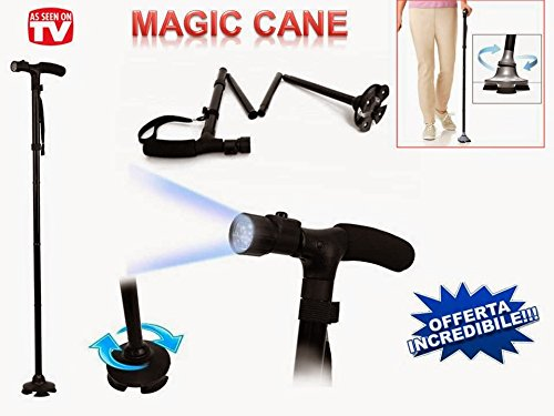 coverstop® BASTONE MAGIC CANE DA PASSEGGIO PIEGHEVOLE CON TORCIA LED TREKKING APPOGGIO BASTONE PER ANZIANI