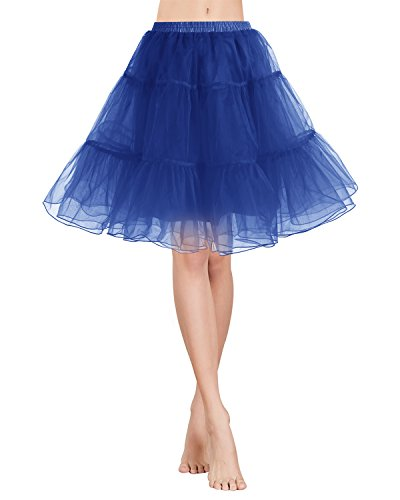 rock Tüllrock 50S Retro Rockabilly kurz Petticoat Ballet Tanzkleid Unterkleid für Cosplay Crinoline Party Navy XL (Xl Fancy Kleid)