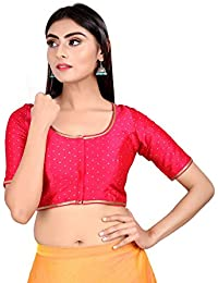 0cc602cc613f6e Salwar Studio Women's Pink Silk Butti Readymade Padded Saree Blouse (SSB2061_Pink)