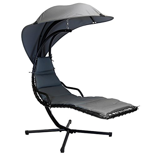 Charles Bentley Garden Helicopter Hanging Chair Lounger - Grey