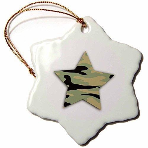 Weihnachten Craft Weihnachtsbaumschmuck grün Camo Star khaki Armee Camouflage Muster Military Soldier Schneeflocke Weihnachten Porzellan Dekoration Geschenk