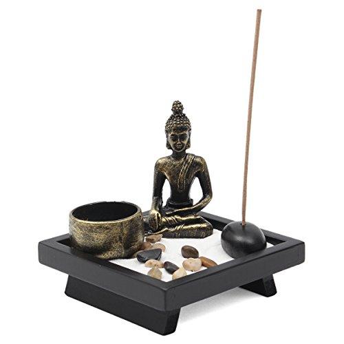 Jeteven Buddha -Statue Sitzend Chinesische Art Zen-Garten Harz Kerzenleuchter-Set Kerzenständer Teelichthalter Kerzenhalter (Buddha) Garten Tee-set