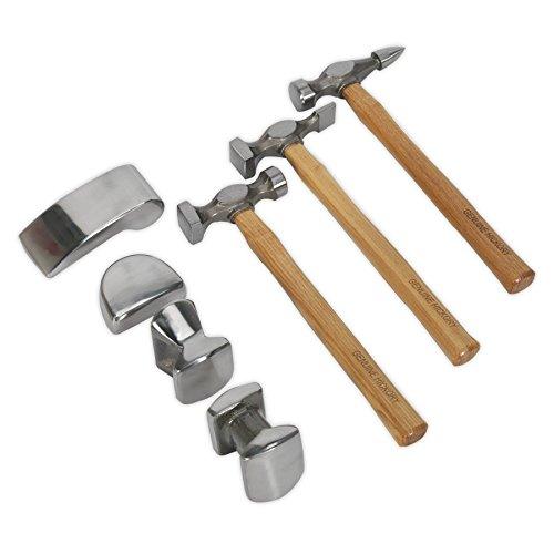 Sealey cb507 - valigetta con kit di martelli e tassi per carrozziere, manico in carya, 7 pezzi