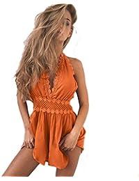 d509e8ad46d0a Reaso Fashion Combishort pour Femmes , Dos nu Combinaison de survêtement  Dentelle Bodycon Robe de plage Combinaison Short…
