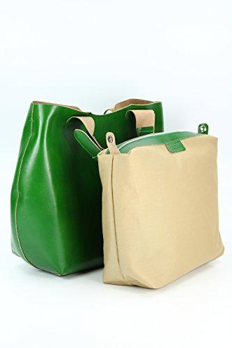 BELLI® exclusive italienische Leder Handtasche - Farbauswahl - 41x32x15 (B x H x T) Grün 2