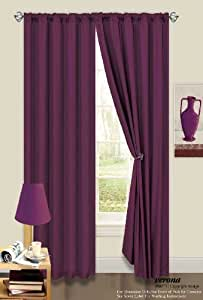 66 x 54 Thermal Backed Light Reducing Plum / Aubergine / Purple Plain Curtains