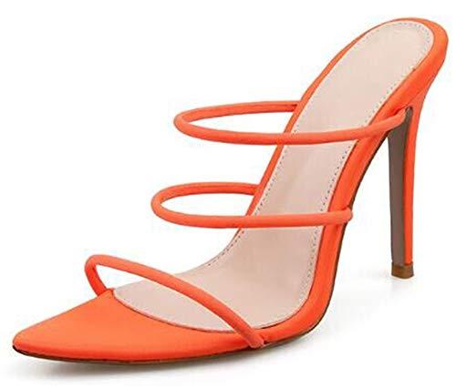 AONEGOLD® High Heels Sandaletten Damen Stiletto Schuhe mit DREI Riemen Mode Peep Toe Sandalen Absatz 11.5 cm Orange 39 EU Orange Stiletto
