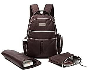Knuddelstuff 'Buckingham' Baby Changing Bag Backpack & Organiser System – Insulated Pockets, Chestnut Brown