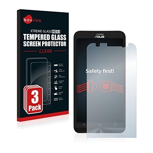 Savvies Panzerglas kompatibel mit Asus ZenFone 2 ZE551ML [3er Pack] - Echtglas Schutzfolie 9H