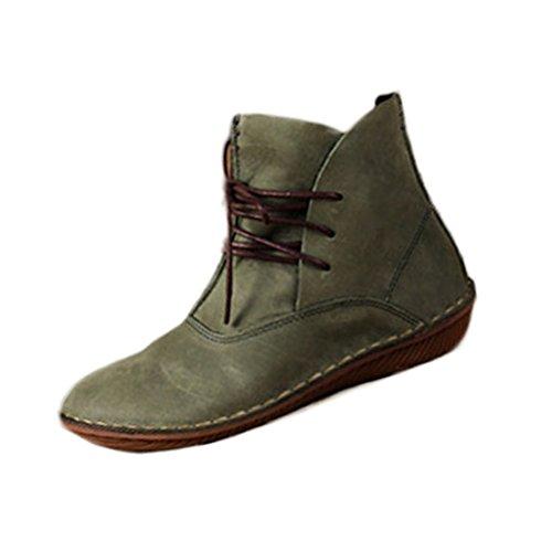 Vogstyle Femme Chaussures Plates en Cuir Plein Couleur Style-1 Vert