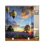 Bishilin Antischimmel 3D Duschvorhang 150x200 Lavendel mit Heissluftballon Lustiger 3D Duschvorhang