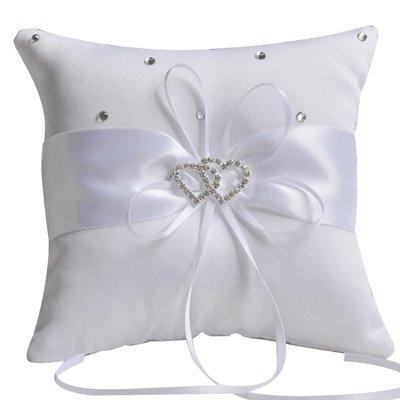 Outflower double cœur Strass Bague de mariage Oreiller Coussin Porteur 10 x 10 cm (Violet)
