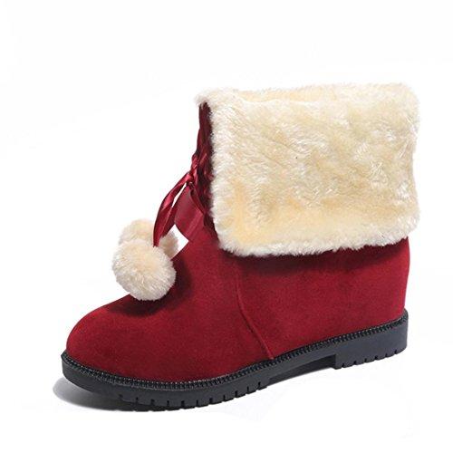 Tefamore Donne Moda Stivali Hairball Stivali Da Neve Stivaletti In Inverno Rosso