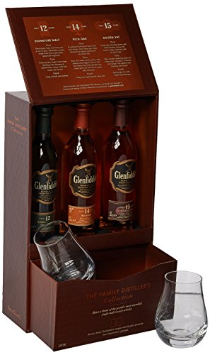 Glenfiddich 12/14 and 15 Year Old Whisky 10 cl Gift Box with Glasses (3x10cl Bottles)