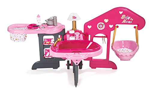 Smoby - 220318 - Baby Nurse - Maison des Bébés - Transportable et Pliable - 3 Espaces de Jeu - + 13 Accessoires Inclus