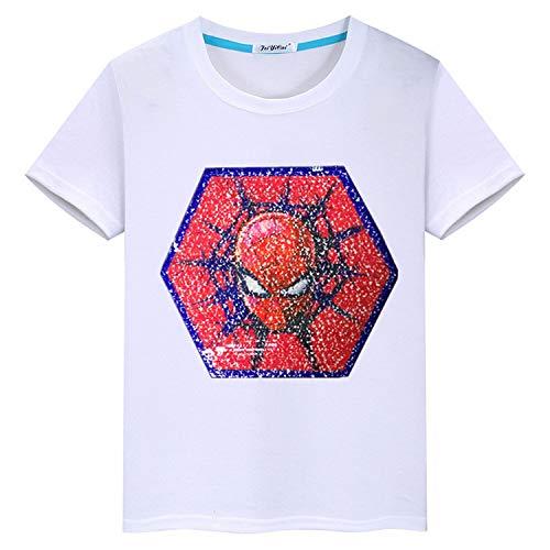 Batman Kids T-Shirt à Manches Courtes en Coton à col Rond pour Enfants d'été (120 Convient à la Hauteur (43.30-47.24), Blanc-B)