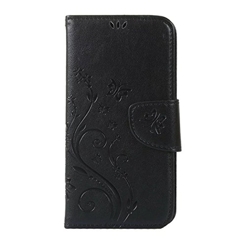 iPhone 5S Hülle Case,iPhone SE Hülle Case,Gift_Source [Card Slot] Luxury Magnetic Closure PU Leder Flower Butterfly Embossed Brieftasche Hülle Case Folio Flip Hülle Case Mit Strap für Apple iPhone SE/ E01-01-Black