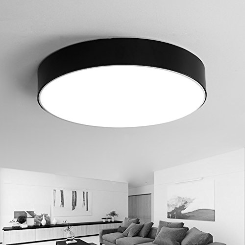 yxhflo Moderne e lampade minimalistLedCeiling Round camera da letto soggiorno lampada luce Il Den ristorante con terrazza lampada ,28cm,Nero luce Box-White