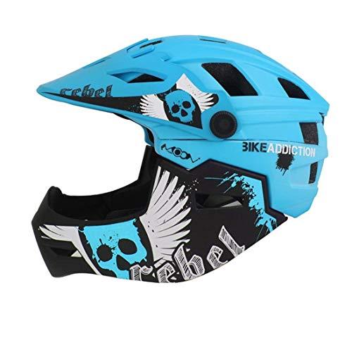Kinderfahrradhelm Motorrad Full Face Helm Kinderschutz Ausrüstung Sport Schutzgeräte Fahren Skating,Blue,M