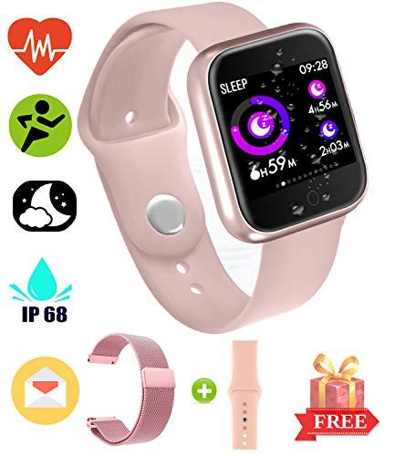 Fitness Bluetooth Smartwatch - Smart Touch Sportuhr Armband Fitness Tracker mit Pulsmesser Erinnerungsspeicher Fitness Tracker Pedometer IP67 wasserdichte Blutdruck Kompatibel mit Android & iOS