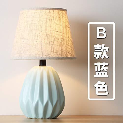 Nordic keramik tischlampe moderne minimalistische kreative wohnzimmer schlafzimmer nachttischlampe weiches nachtlicht kinder hotel dekoration B blau -