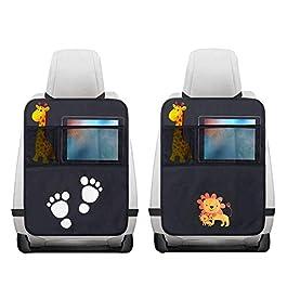 2 Pezzi Protezione Sedile Auto,Impermeabile Sedile Posteriore Auto Organizzatori 2 x Tasca dell' Organizzatore Tasca iPad,Organizer Bambino per Sedile Auto,Protezione Sedile Auto Bambini