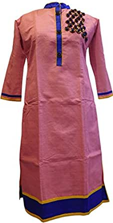 Pink Blue Designer Cotton Chanderi Hand Embroidery Sequence Beads