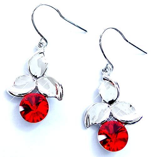 Till de Montagne Boucles d'oreilles argent avec Swarovski haenger Boucles d'anneau Set haut de gamme Hanging Earring Swarovski Stones (Red Cherry) 5310