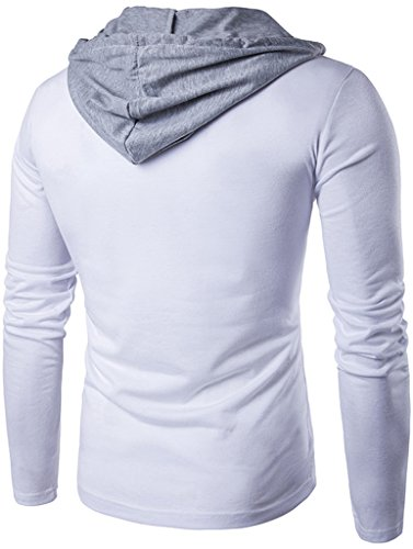 Whatlees Herren Urban Basic reguläre Passform lang arm Langes T-shirt mit Kapuzer aus weiches Jersey B414-White