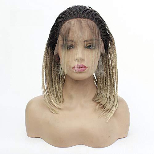 Kurze Bobo Kopf geflochten drei Stränge von Skorpion und Pony Baby Haar Lace Perücke Perücke Farbverlauf Gold Valentinstag, (Machen Sie Es Selbst Baby Halloween Kostüme)