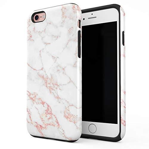 Cover Universe Hüllen für iPhone 6 / 6s Hülle, White & Rose Gold Strips Marble Print stoßfest, zweilagig mit Hardcase aus PC + Hülle aus TPU, hybride Case Handyhülle