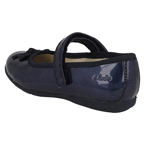 Clarks Girls Out Of School Danceshine pré-Synthétique-chaussures Bleu marine Bleu - bleu