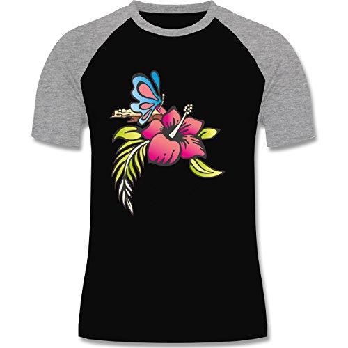 Blumen & Pflanzen - Blumen - zweifarbiges Baseballshirt für Männer Schwarz/Grau Meliert